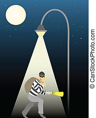 Holding a bag and fall light a robber walks past full moon under street light vector illustration