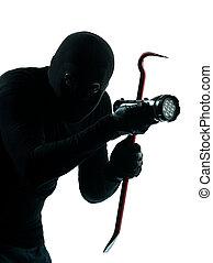 thief criminal burglar portrait masked in silhouette studio...