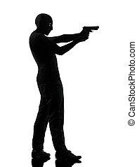 thief criminal terrorist aiming gun man silhouette - thief...