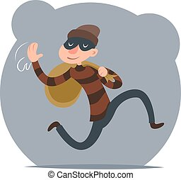 Thief Escapes with Loot Run Character Retro Cartoon Design Vector Illustration