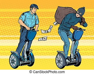 Thief flees with money from the police pop art retro style. The chase on the scooter. Crime law and order