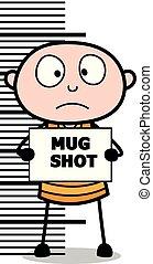 Thief Giving a Mug Shot - Cartoon thief criminal Guy Vector Illustration
