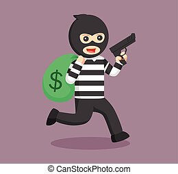 thief holding gun and running with money