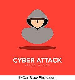 Thief icon. Cyber attack. Vector illustration design