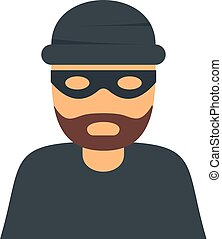 Thief icon. Flat illustration of thief vector icon for web isolated on white