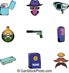 Thief icons set, cartoon style