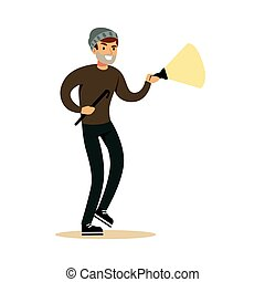 Thief in a black mask on the eyes with flashlight and nail puller. Colorful cartoon character vector Illustration