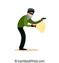 Thief in a black mask on the eyes with flashlight. Colorful cartoon character vector Illustration