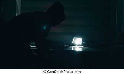 thief in a house silhouette at indoor night steals a laptop...