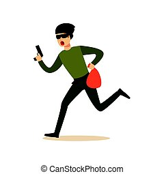 Thief in a mask running with a gun and a sack, robbery colorful character vector Illustration
