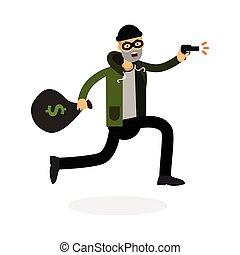 Thief In A Mask Running With Gun And Money Bag Character Vector Illustration