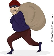 Thief in black mask. Robber walkingaway with large bag. Cartoon character