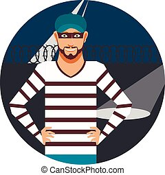 Thief in the Prison - Vector image of the thief in the...