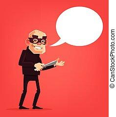 Thief man character holds knife. Speech bubble. Vector flat cartoon illustration