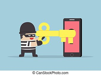 Thief or hacker hacking smartphone by key, VECTOR, EPS10