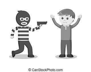 Thief pointing gun at someone