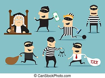 Thief robber and judge, vector crime or punishment