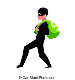 Thief, robber, burglar trying to escape with a money bag
