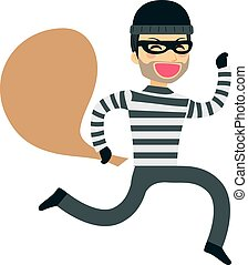 Thief Running Robbery - Funny thief running happy with sack...