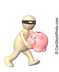 Thief - Running thief with a piggy bank