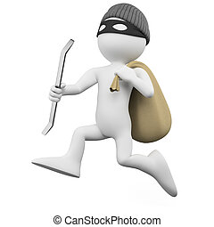 Thief running with a sack - Thief running with a crowbar and...