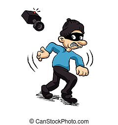 thief running with Security surveillance camera