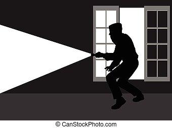 Thief Silhouette - Silhouette illustration of a thief break...