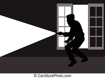 Silhouette illustration of a thief break into the house through window