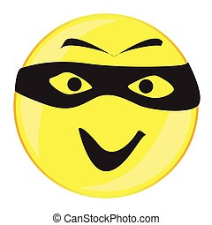 Thief Smile Face Button Isolated