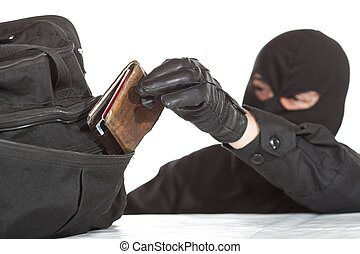 Thief stealing a wallet and a bag on a white background