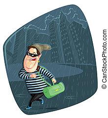 Thief stealing bag