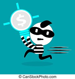 thief stealing bulb, idea, money, and intellectual right