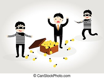 The thief steal light bulb idea from businessman