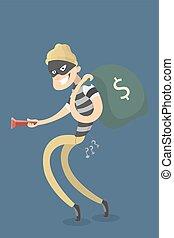 Thief stealing money.