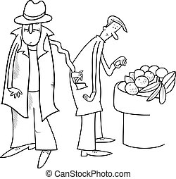thief stealing wallet illustration - Black and White Cartoon...