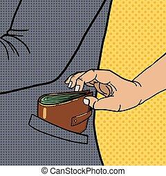 Thief steals wallet from pocket pop art vector - Thief...