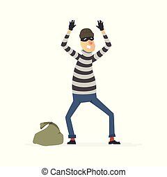 Thief surrendering - cartoon people characters illustration