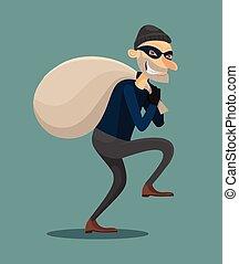 Thief vector flat illustration