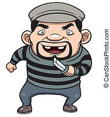 Vector illustration of cartoon thief