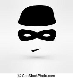thief., vettore, nero, icona