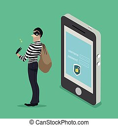 Thief with a key access from a smartphone