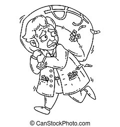 Thief with bag of money. Isolated objects on white background. Cartoon vector illustration. Coloring pages.