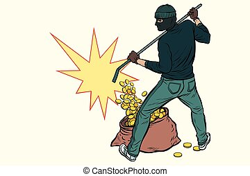 thief with bag of money