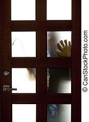 Thief with crowbar at house door robbery - Hands of Burglar,...