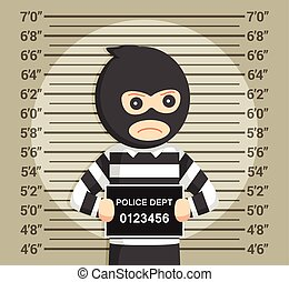 thief with mugshot background