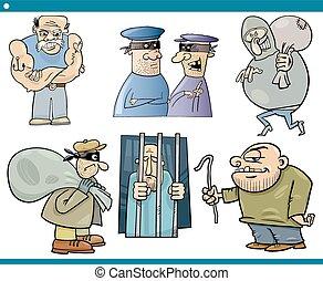 thieves and thugs cartoon set - Cartoon Illustration Set of...