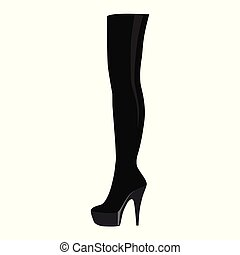 Thigh high boots - Vector illustration black thigh high...