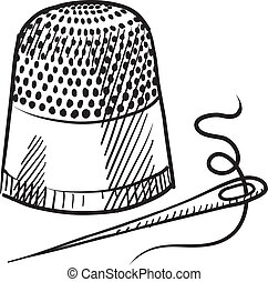 Doodle style thimble and needle illustration in vector format suitable for web, print, or advertising use.