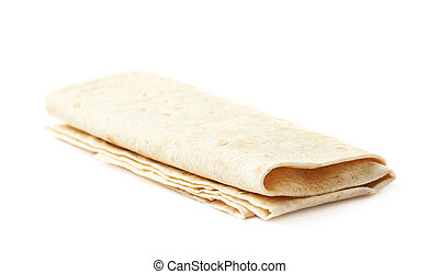 Thin armenian lavash bread isolated