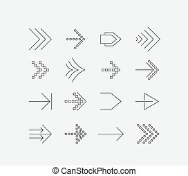 Thin arrow icon set